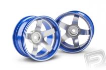 Hliníkový disk 5 paprsků, offset 9 mm - modrá barva (2 ks)