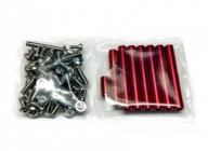 Šrouby, matice a distanční sloupky pro BEE245, červené