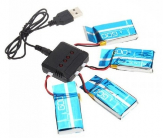 Nabíječ pro 4ks + 4ks Li-Pol 650mah - Syma X5C atd