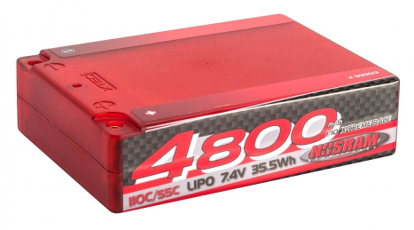 NOSRAM 4800 - Square Pack - 110C/55C - 7.4V LiPo - 1/10 Competition Car Line Hardcase