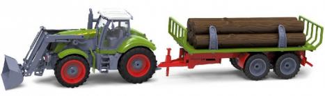RC kolový traktor s vlečkou dřeva