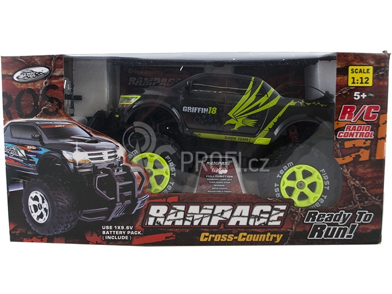 RC auto RAMPAGE Cross Country, černozelená