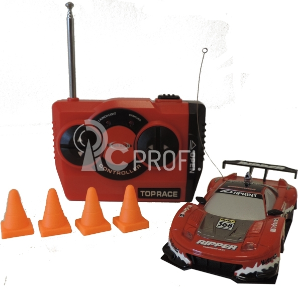 RC Car závodní model s kužely 1:43 červený